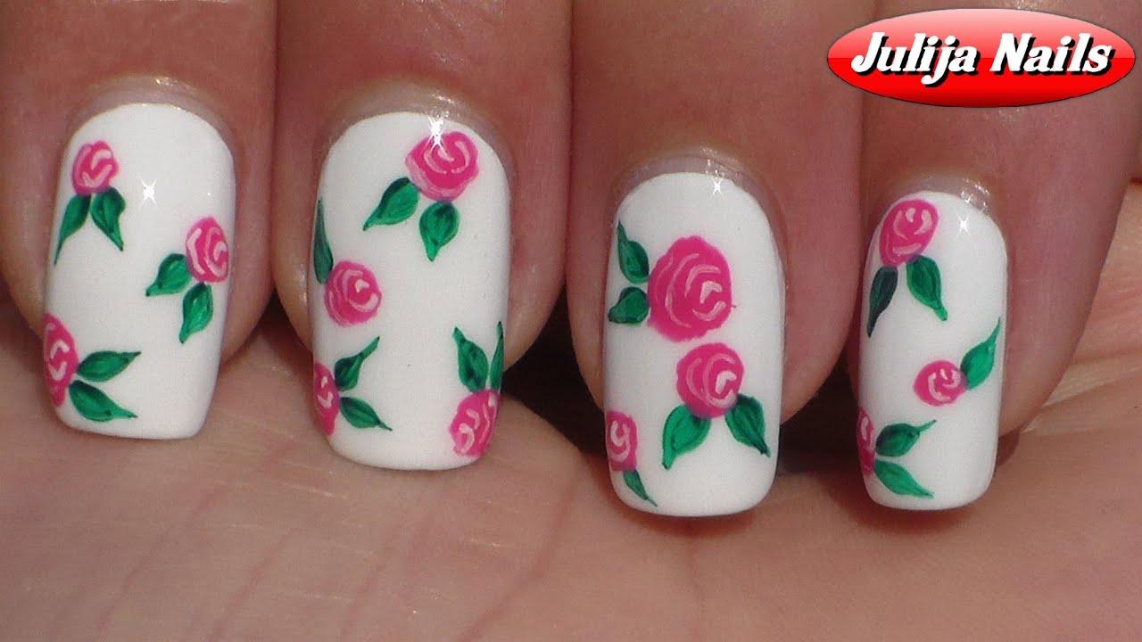 Простые рисунки цветочки на ногтях фото