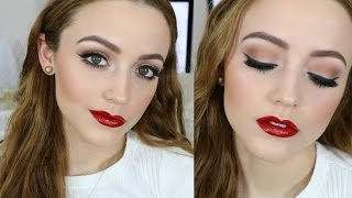 Simple Holiday Makeup Tutorial | Glossy Red Lips