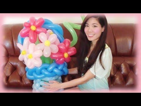 DIY Flower Balloon Art Tutorial - Gift idea for Mother's Day - DIY virágkosár lufiból anyák napjára