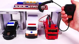 Fire Truck Ambulance Police Car Toy Playset SOS Emergency Station for Kids and Children
