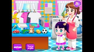 Baby Help Mother Laundry. Funny Game For Kids