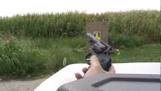 Armscor Model 200 .38 Special revolver shooting BVAC ammunition at yellow silhouette target again
