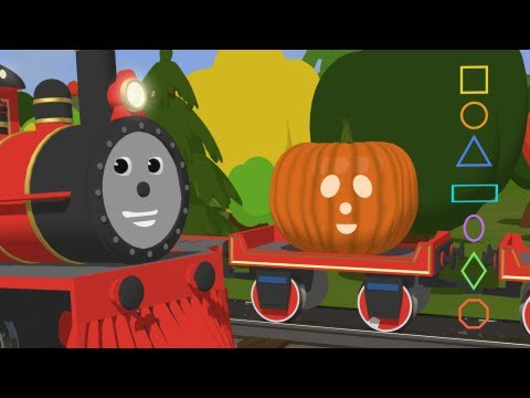 Educational cartoon for children where Shawn the Train teaches different shapes and carves pumpkins with them. Video shows colorful shapes and train. Great T...