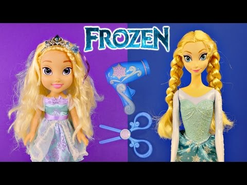 NEW Frozen Easy Styles Elsa Doll How To Change Elsa's Hair Clips Extensions 2014 Disney Toys Review Music Videos