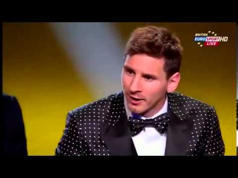 Lionel Messi - Ballon D'or 2012 win and speech
