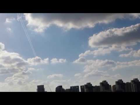 Attack on Israel. Interception Hamas rockets over Tel Aviv
