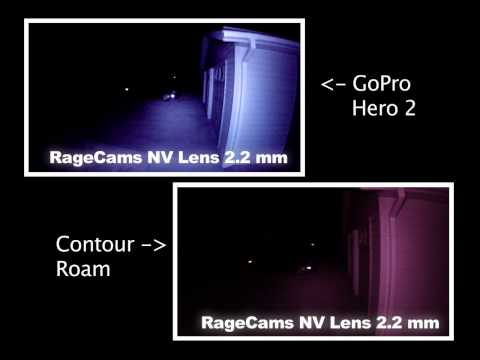 GoPro Hero2 hero 2 hd2 vs Contour Roam RageCams Night Vision Lens 2.2mm NV Test 11mp 1080p Torrid