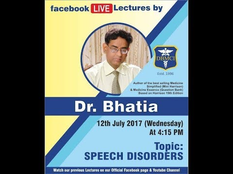 "Discussing in "" Speech Disorders "" By Dr. Bhatia Sir Live On Faecbook  (DBMCI) thumbnail"