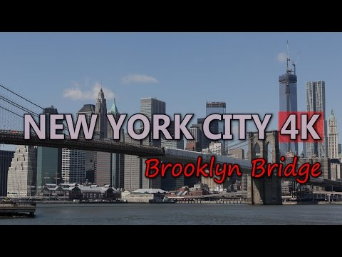 Ultra HD 4K New York City Brooklyn Bridge Travel Sightseeing Skyscrapers WTC UHD Video Stock Footage