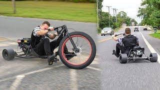 I CRASHED.. 50+ MPH MOTORIZED DRIFTING TRICYCLE! (DRIFT TRIKE)