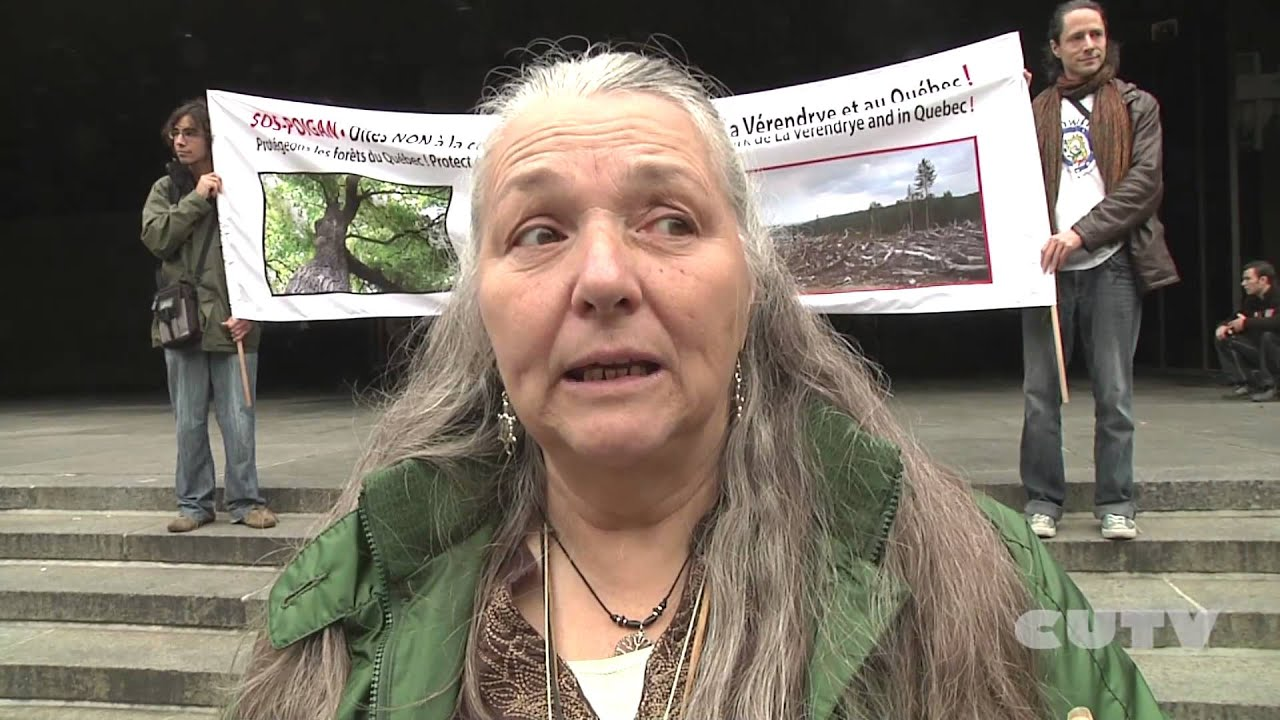 Algonquins Protest Against Resolute Forestry Clearcuts at Palais de Justice in Montreal