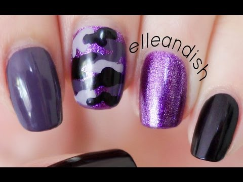 Easy Purple Camouflage Nails