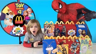Spiderman Far From Home Spin the Wheel Game and Buying Whatever it Lands On Toy Story 4 McDonalds