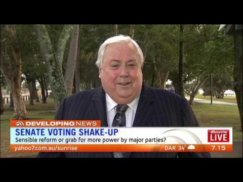 SUNRISE - Clive Palmer against new Senate laws that compromise voters rights