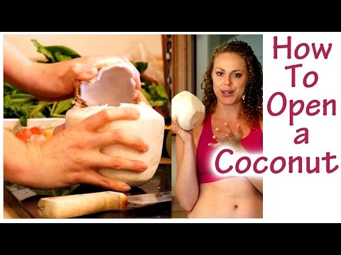 How to Open a Coconut, Fresh Coconut Water- Electrolytes! Weight Loss Drinks, Healthy Smoothies