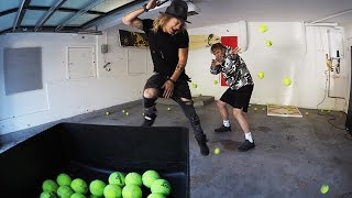 Tennis Ball Machine VS Jake Paul! (HEADSHOT)