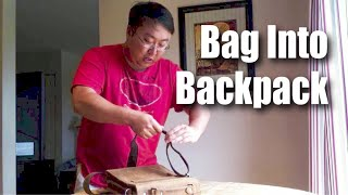How to quickly turn your messenger bag into a backpack
