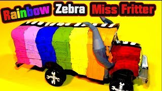 Pixar Cars Miss Fritter Zebra Rainbow Custom Paint From Disney and Mattel Cars and Cars 3
