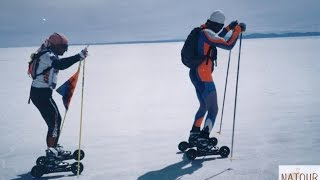 Adventure in salar de Uyuni Crossing rollerblade in three days, Movie in Bolivia Uyuni