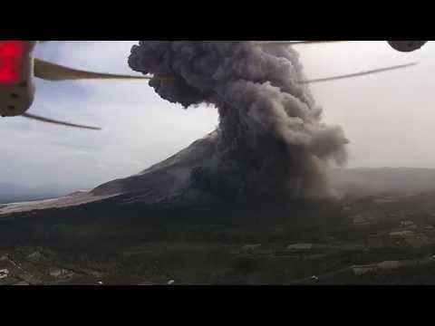 Drone Films Erupting Volcano - DJI Phantom Vision+ - Mount Sinabung, Indonesia