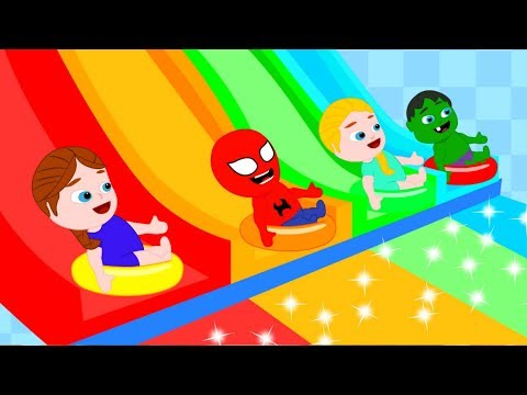SUPERHERO BABIES HAVE FUN AT THE WATER SLIDES ❤ Spiderman, Hulk & Frozen Play Doh Cartoons For Kids