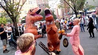 Kaliya Krishna Prabhu Chants Hare Krishna at Union Square and Dinosaurs Dance
