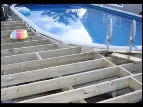 Deck and pool project 2010 youtube for How to build a wood deck around a round pool