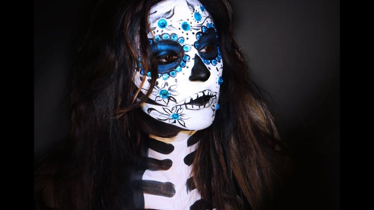 Sugar Skull Makeup ( Catrina) - YouTube Sugar Skulls Face Paint Black And White