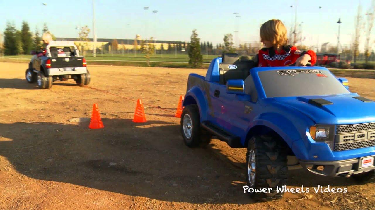 Tug-of-War Battle 1 - Kid Trax Dodge Ram vs Power Wheels Ford F150 - YouTube