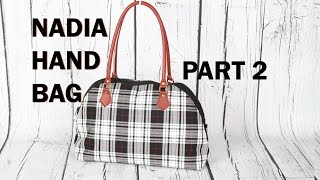Nadia Handbag Part 2 / Leather handles and zip pocket pouch