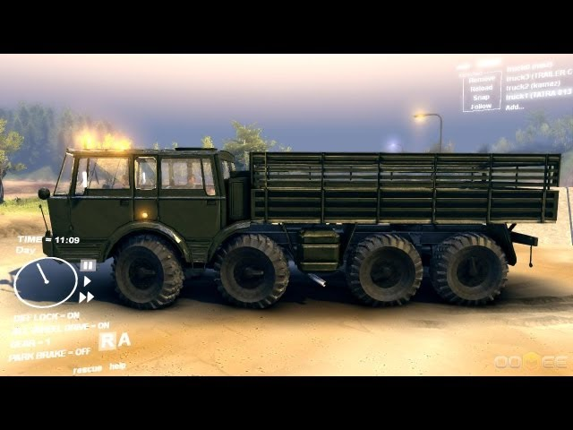 Spin Tires Dev Demo July 2013 - Tatra 813 KOLOS Army Green Test Drive