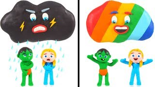 Rainy Cloud VS Rainbow Cloud ❤ Cartoons For Kids