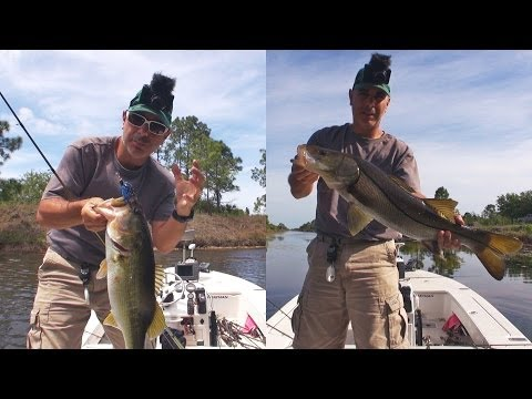 SPRING CANAL FISHING - CATCHING BASS & BIG SNOOK
