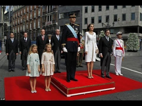 Prince Felipe and his wife Letizia, crowned King and Queen at their first official ceremony