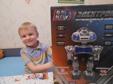 РОБОТ ЭЛЕКТРОН Интерактивный распаковка играем даем команды Robot Electron unboxing toy and play