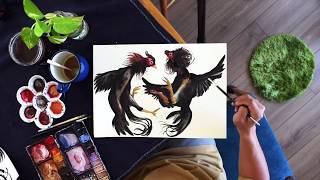 Watercolor of Thai Fighting Chickens for art licensing