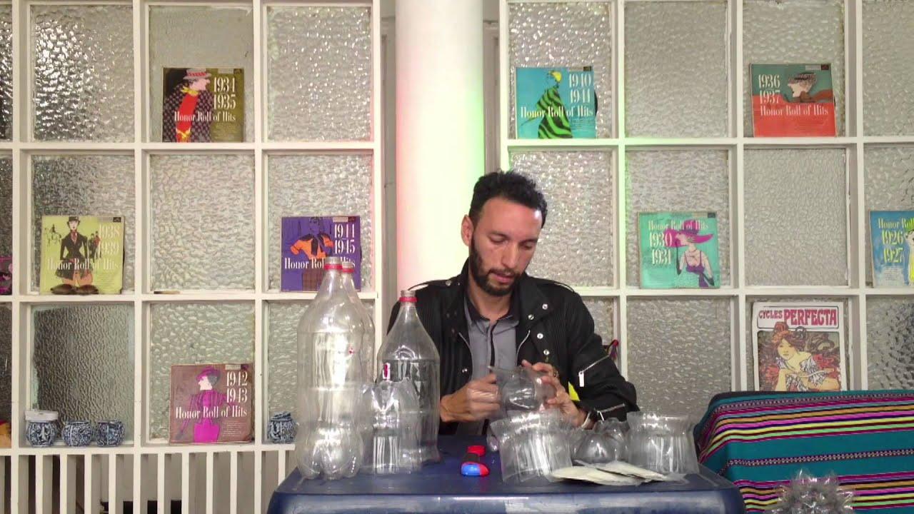 C mo hacer l mparas con botellas de pl stico youtube - Como decorar tulipas de lamparas ...