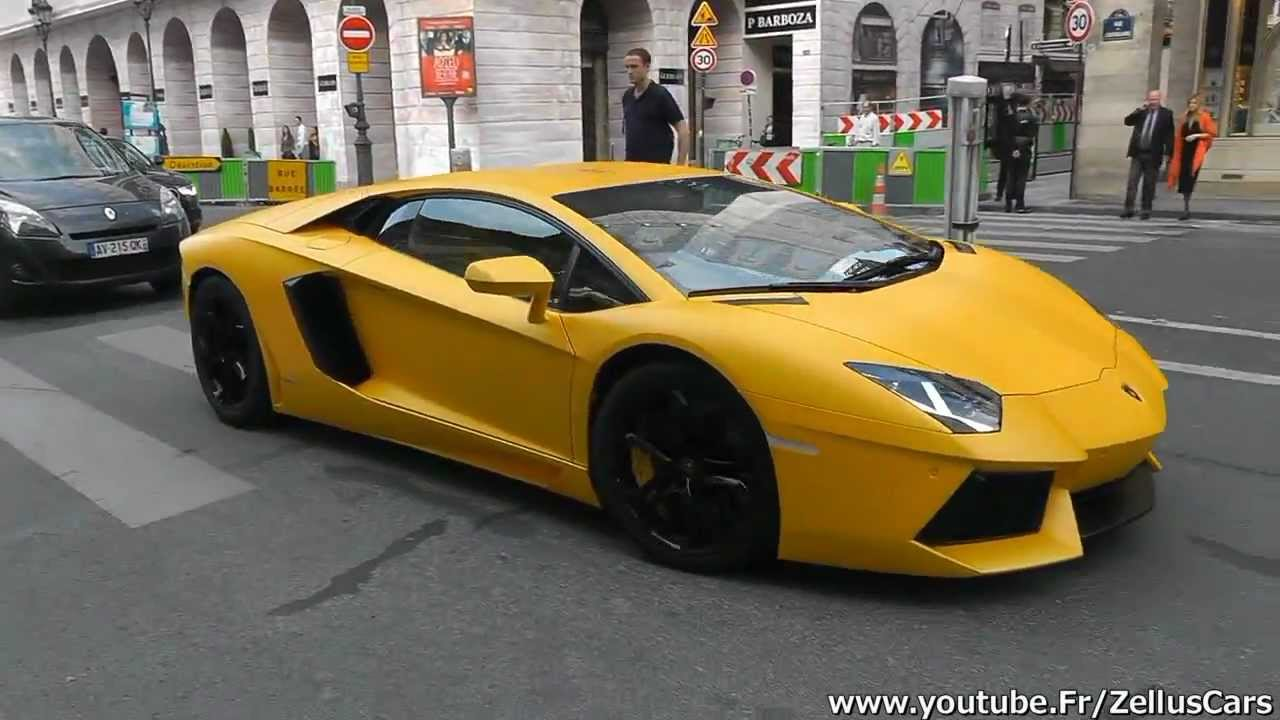 Yellow Matte Lamborghini Aventador From Qatar Driving In Paris Loud Sound Youtube