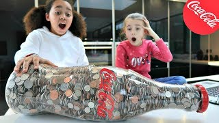 DIY Coin Machine! Giant Coca Cola Bottle Of Coins - How Much Will We Get?