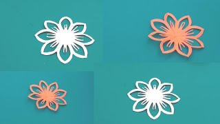 How to make paper cutting flowers design,paper snowflakes,kirigami flowers,school paper crafts ideas