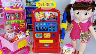Baby doll and pink car surprise eggs toys Gas station play 아기인형 주유소 핑크 자동차 뽀로로 장난감놀이 - 토이몽