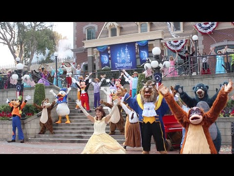 Disneyland 59th anniversary / birthday celebration with Dapper Dans, 59 characters