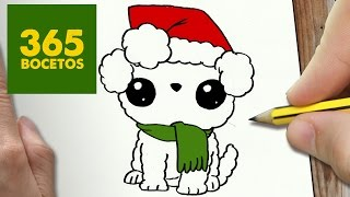 Como Dibujar Un Perro Para Navidad Paso A Paso Dibujos Kawaii