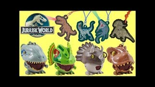 Full Set Dinosaurs JURASSIC WORLD Radz Candy Dispensers & Light Up Danglers feat. Blue, T-Rex