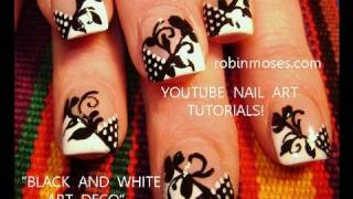 Black and White Art Deco Nail Art Design Tutorial