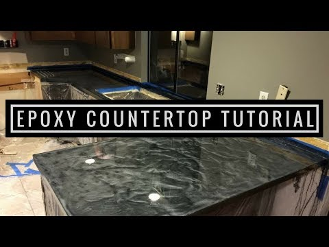 Countertop Resurfacing with Metallic Epoxy | Silver and Charcoal