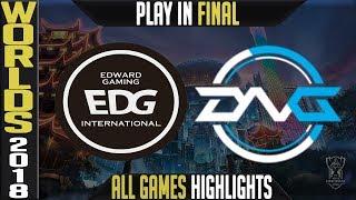 EDG vs DFM Highlights ALL GAMES | Worlds 2018 Play in Final | Edward Gaming vs Detonation FocusMe