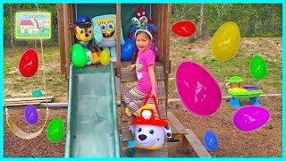 HUGE SURPRISE EGG HUNT FOR BIG SURPRISE EGGS Opening Toy Surprises Elsa is Scared SpiderMan Bubbles