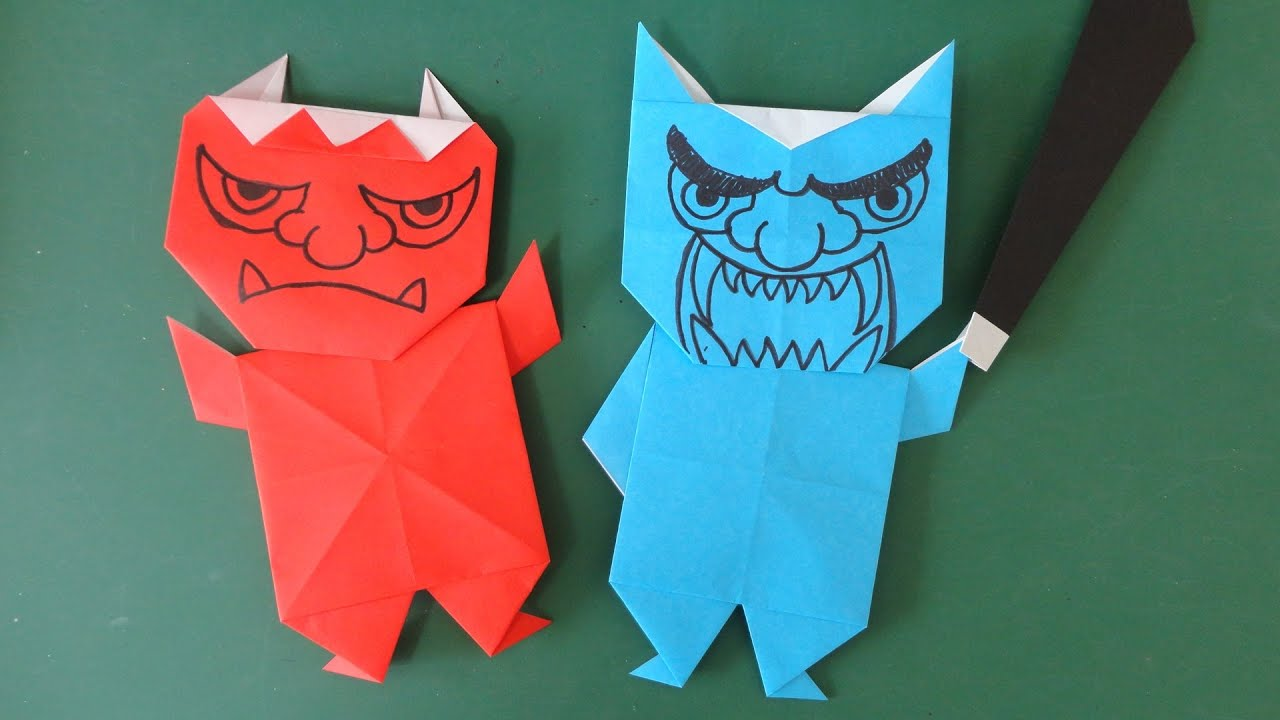 Origami Devil : 節分 折り紙 折り方 : 折り方