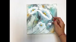 Flower painting on canvas/Demo /Acrylic Technique on canvas